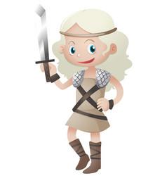 female warrior with sharp sword vector image