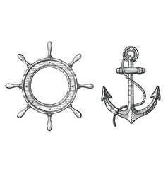 Hand drawn of an anchor and a steering wheel vector image
