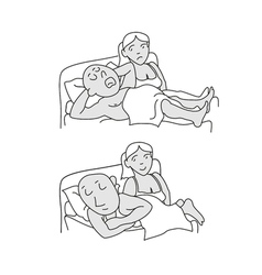 Husband snores husband and wife lying in bed vector image