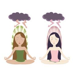 Meditating girls in cartoon style vector
