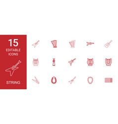 15 string icons vector image