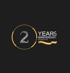2 years anniversary logotype style with silver vector