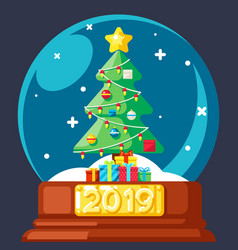 2019 christmas tree gift box glass ball flat vector image