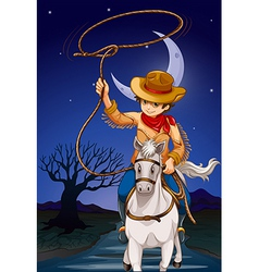 A cowboy holding a rope while riding a horse vector