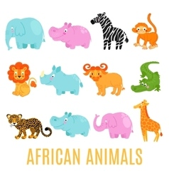 African animals set isolated vector