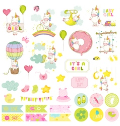Baby Girl Unicorn Scrapbook Set Baby Tags vector