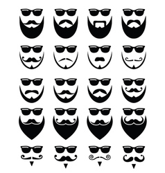 Beard and sunglasses hipster icons set vector image