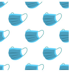 Blue medical face mask seamless pattern vector