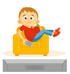 boy is watching tv vector image