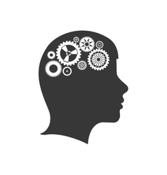 brain gears head silhouette idea icon vector image
