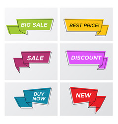 bright trendy sale ribbon tags in bright colors vector image