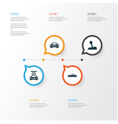 car icons set collection of carriage stick vector image