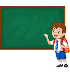 cartoon school boy in uniform writing vector image