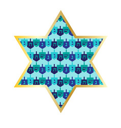 Chanukah gold star with dreidel pattern vector