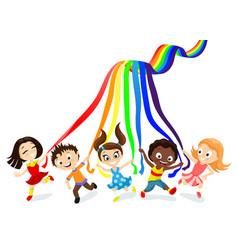 Children and rainbow vector