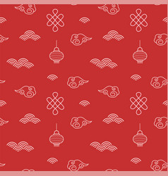 chinese red seamless pattern for new lunar year vector image