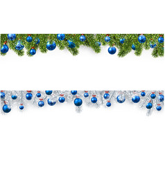 Christmas banner with spruce branches and balls vector