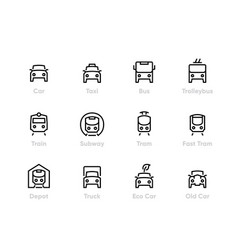 city transport line icons car bus vector image