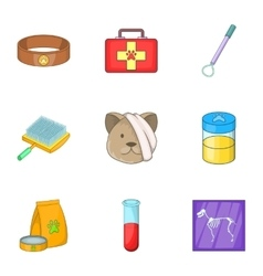Clinic for pets icons set cartoon style vector image