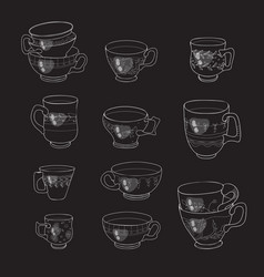 coffee and tea cups icon collection vector image