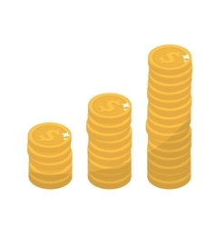 Coin stacks flat design Gold coins increase up vector