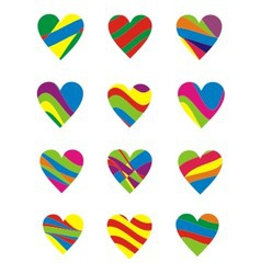 Colorful heart element vector