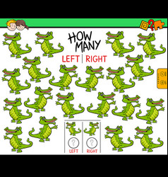 counting left and right pictures of crocodile vector image