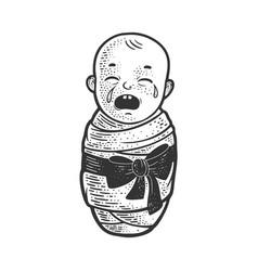 Crying baby sketch vector