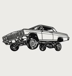 Custom lowrider retro car vintage concept vector