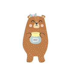 cute brown grizzly bear with a honey jar vector image