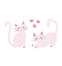 Cute cats set flat hand mouse style kittens are vector