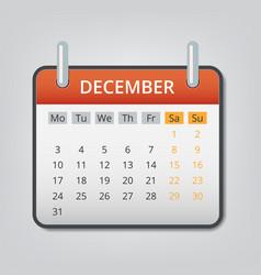 December 2018 calendar concept background cartoon vector