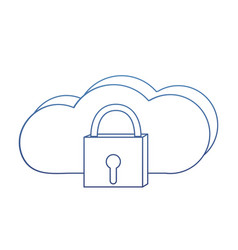 Degraded outline close padlock and data cloud vector