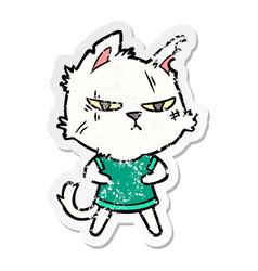 Distressed sticker a tough cartoon cat vector