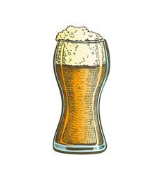 drawn standard pub glass color foam beer vector image