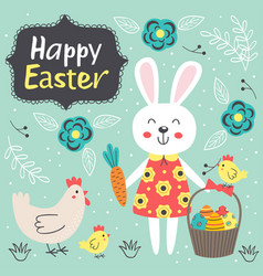 easter card with cute rabbit and chicken vector image