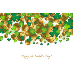 falling realistic gold coins and shamrock clover vector image