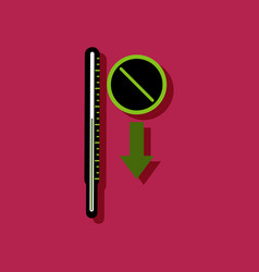 Flat icon design medical thermometer and vector