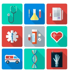 Flat style medical icons set vector
