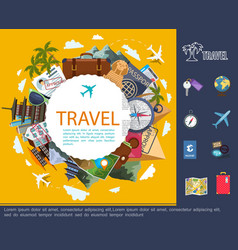flat travel around world concept vector image
