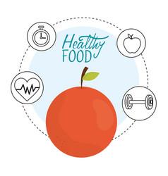 fresh orange heartbeat chronometer and barbell vector image