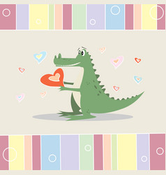 funny cartoon crocodile with a heart greeting card vector image