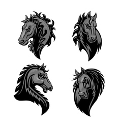 Furious powerful horse head heraldic icons vector