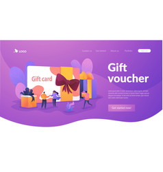 Gift card landing page template vector