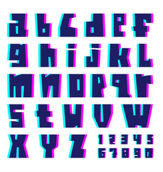 glitch alphabet letters and numbers with effect vector image
