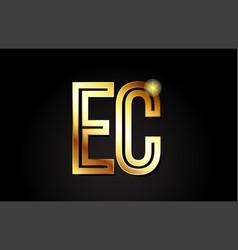 Gold alphabet letter ec e c logo combination icon vector
