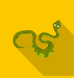 Green spotted snake icon flat style vector