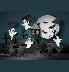 halloween party with ghost vector image