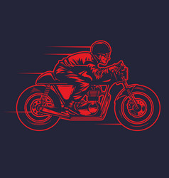 Hand drawing od man riding old cafe racer vector