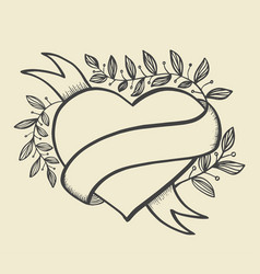 heart banner hand drawn style vector image